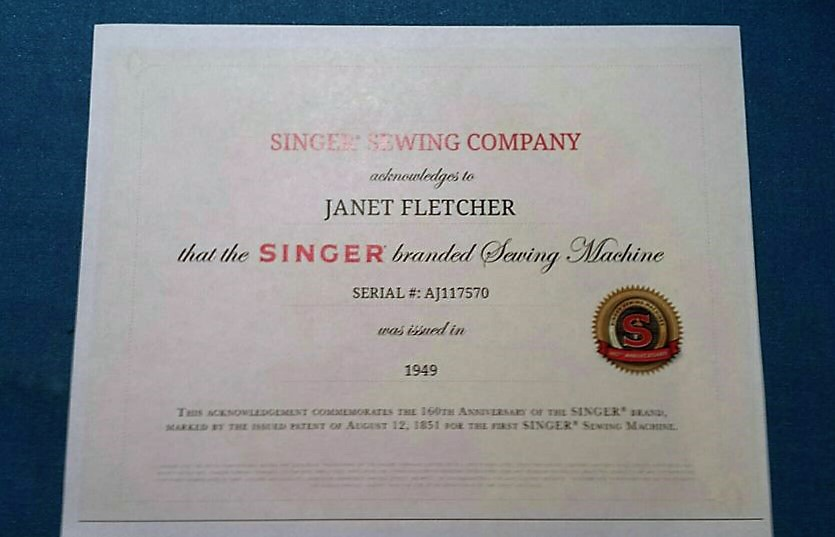Singer Featherweight Certificate of Ownership